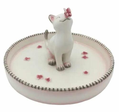 New Ceramic White Cat Kitten & Butterfly Trinket Jewelry Dish Ring Holder Gift