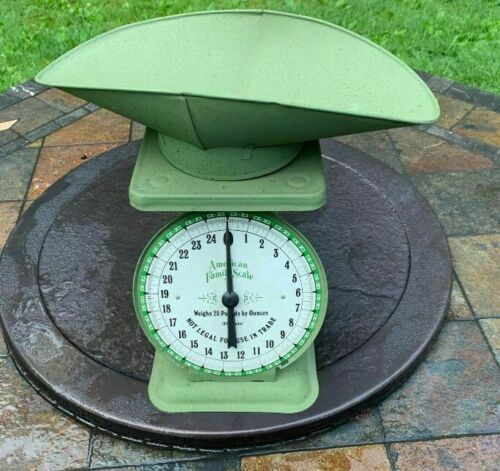 Vtg American Family  Scale - 25 lb. Olive Green Metal