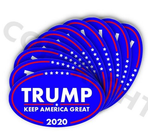"""TRUMP 2020 Keep  American Great Bumper Stickers Oval Decals Blue 3"""" 10 pack"""