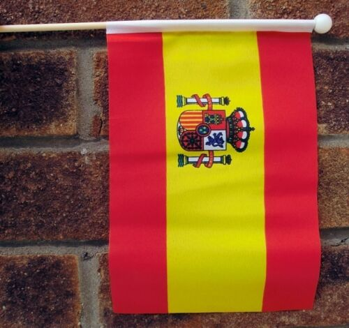 "SPAIN WITH CREST HAND WAVING FLAG medium 9"" X 6"" wooden pole flags SPANISH"