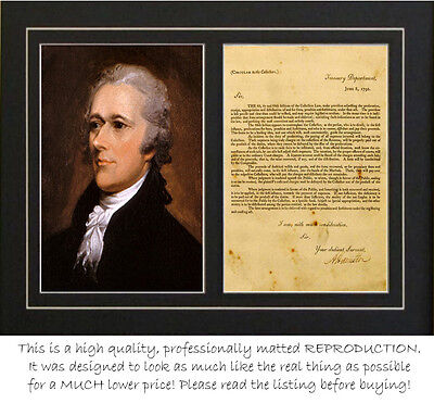 Alexander Hamilton signed treasury dept letter (autograph) PROFESSIONALLY MATTED