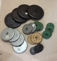 "185 Lbs of Solid Steel Weight Plates with 1"" Hole"