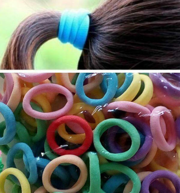 50 Stück Kleine Bunte Haargummis Gummis Zopfgummis Zopfhalter Zöpfe binden