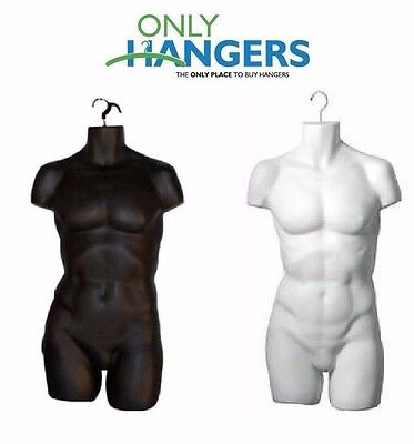 Only Hangers Set Of Black White Mens Plastic Torsos Hanging Body Forms