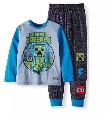 Boys Child Minecraft Charged Creeper 2 Piece Pajama Sleep Set Sz 4 XS NEW](Minecraft Pajamas Kids)