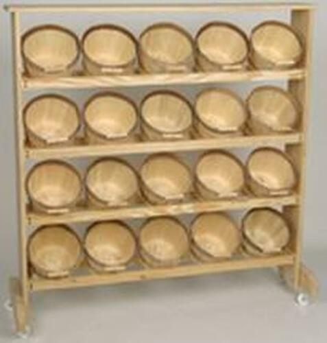 Display Rack w/ 20 Half Peck Natural Basket w/ bale Handle. 3 day 4 shipping