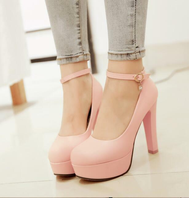 942539fa427 Hot Womens Ankle Strap Round Toe Platform High Thick Heel Court Shoes
