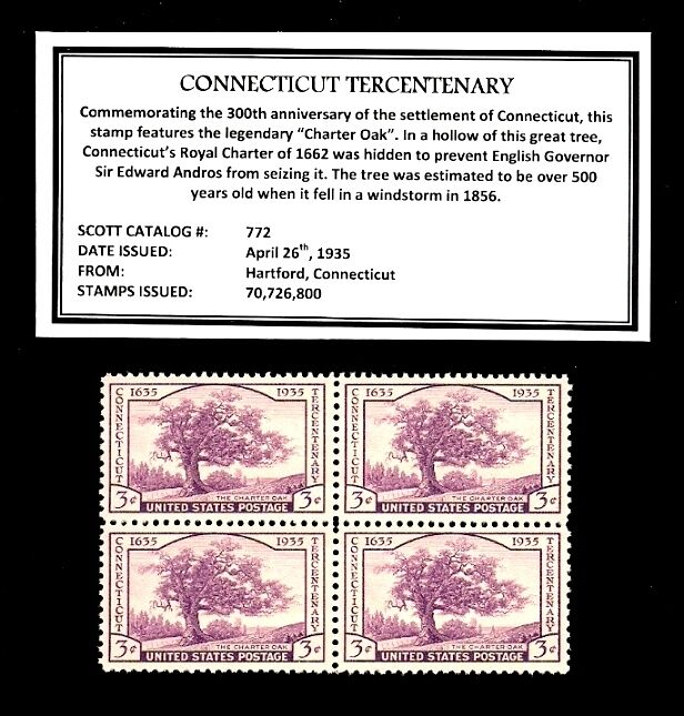 1935 - CONNECTICUT - #772 Mint -MNH- Vintage Block of Four Postage Stamps