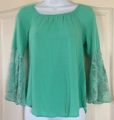 Vision Mint Green Lace Embellished Blouse Sz M