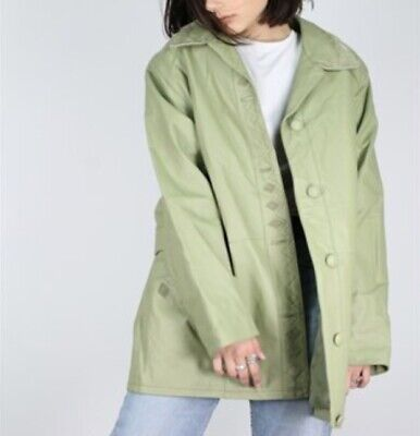 Vintage 90s leather jacket Size L XL in Sage Green Great Condition