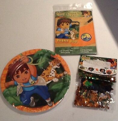 Go Diego Go Party Supplies for 8 Plates Thank You Cards and Confetti New (Thank You Confetti)