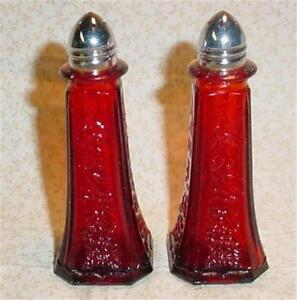 Tall Ruby Red Glass Floral Salt & Pepper Shakers