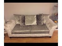 Crushed Grey Velvet Sofa for Sale