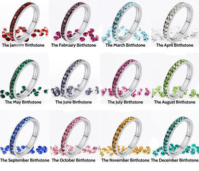316L Stainless Steel Stackable Birthstone Eternity Ring 3MM Comfort Band  - Birthstone Ring