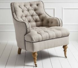 Swoon Editions Chester Armchair in Oatmeal Linen **SOLD**