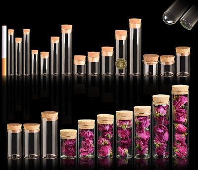 4~120ml Cork Stopper Glass Vial Jars Transparent Bung Test Tube Bottle - Craft Tubes