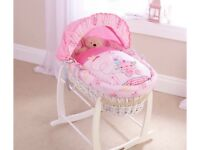 Clair de lune Pink & white wicker Moses basket