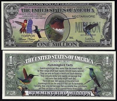 Lot of 100 BILLS- HUMMINGBIRD MILLION DOLLAR BILL