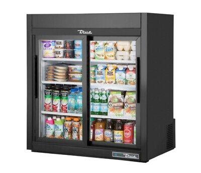 True Countertop Refrigerator 36 Black Sliding Doors