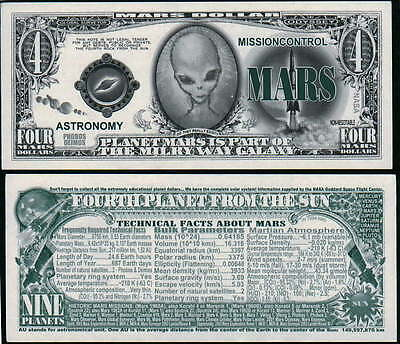 Mars 4th Rock Alien Dollar Bill Fake Play Funny Money Novelty Note + FREE - Alien Novelties