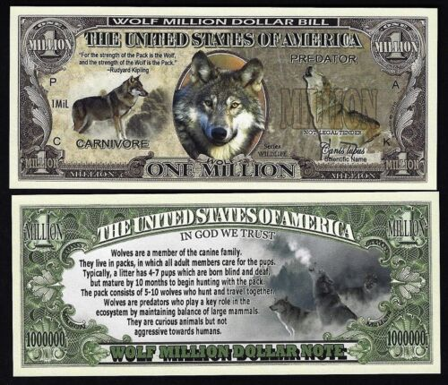 Lot of 500 Bills - Wolf Million Dollar Novelty Bill with facts