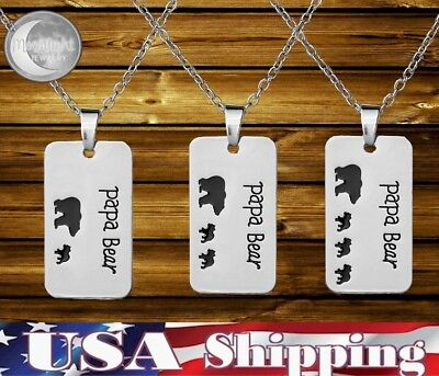 New Papa Bear Dog Tag Kids Cubs Metal Silver Mama Father Day Necklace