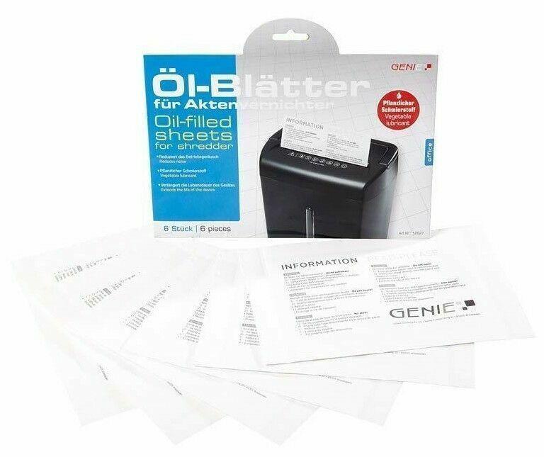 6 GENIE Aktenvernichter Ölpapier Öl Papier Ölblätter Blätter Shredder Schredder