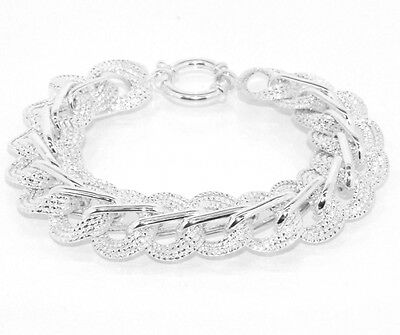 Silver Circular Bracelets - Textured Circular Link Bracelet Sterling Silver 925 - Multiple Sizes Available!