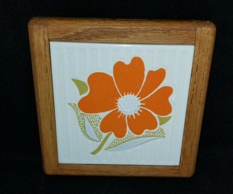 Vintage Wooden Framed Tile Trivet Orange Flower Tile Trivet