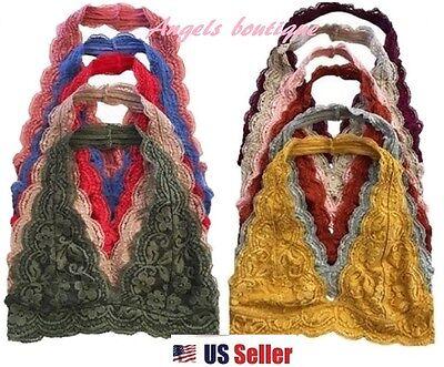 Scallop Halter Lace Bralette Bra Floral Lace V Neck Tank Top S M L