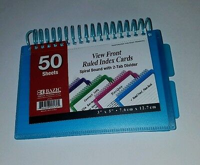 Bazic 570 3 X 5 Ruled Index Card Holder 2-tab Divider New 50 Cards Spiral Case