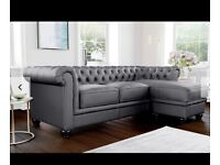 Grey Leather Chesterfield Sofas