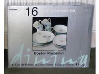 Boston Porcelain 12 piece Dinnerware Set   4 side plates 4 soup bowls 4 mugs