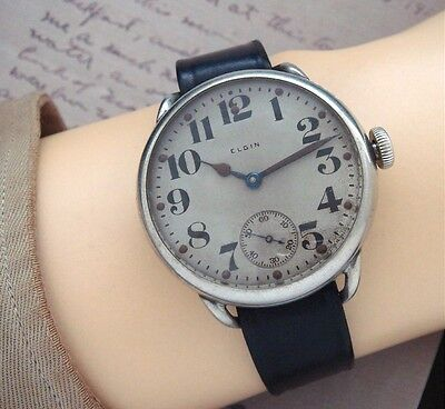 RARE OVERSIZED Estate 1918 Elgin WWI Wire-lug Military Trench Watch - SERVICED