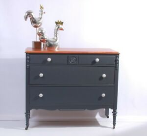 Bureau Commode Vintage Annie Sloan Chalk Paint Graphite