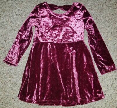 THE CHILDREN'S PLACE Cranberry Crushed Velvet Dress Girls Size 3T