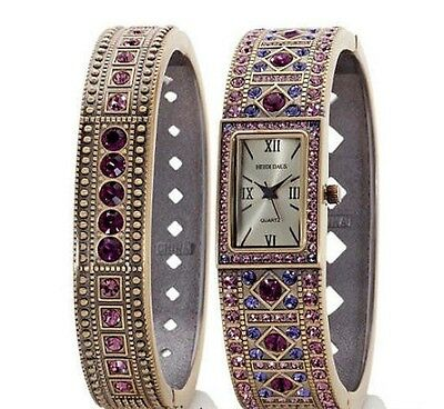 "Heidi Daus ""Double Trouble"" Crystal Bangle and Watch Set *Amethyst-Rose* NEW"