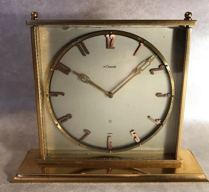LeCoultre Gilt Brass Table Clock with 8 day movement, 1960s