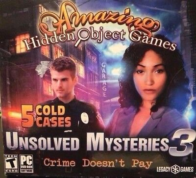 Computer Games - Amazing Hidden Object Games Unsolved Mysteries 3 PC Windows 10 8 7 XP Computer