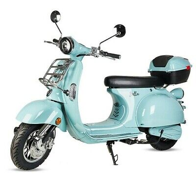 Moto scooter electrica matriculable Vespa 3000w bateria matricula 50 Km azul