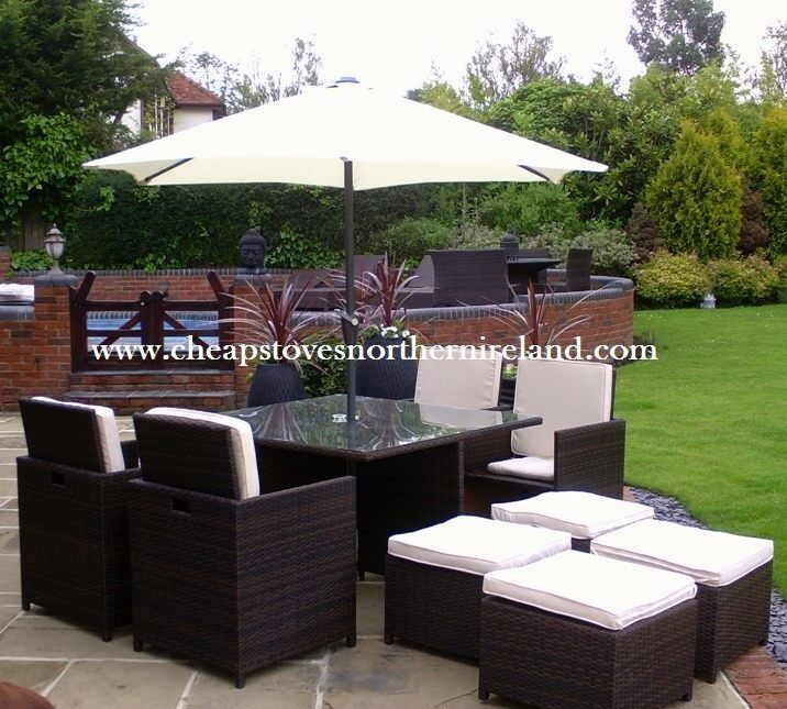 Garden Table And Chairs Part - 19: RATTAN FURNITURE + FREE DELIVERY Garden Cube Set Sofa Table Chairs Dining  For Outdoor Patio Decking