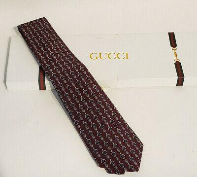 vintage Gucci Tie 1980s Necktie Maroon Burgundy Wine Evil Eye Green Gray Red
