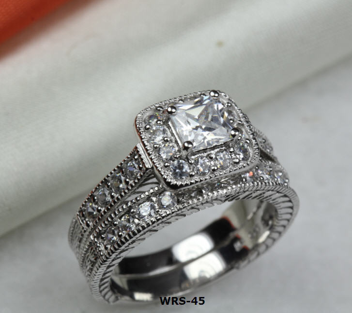 3.19 Ct Princess Cut Lab Diamond Silver Engagement Ring Wedding Ring Set Wrs-45