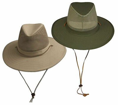 Wide Brim Bucket Hat UPF-50 Sun Protection w/ Mesh Crown Breathable Crushable (Crown Hats)