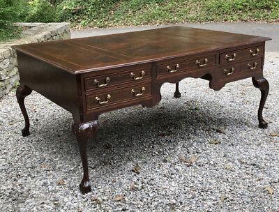 Vintage English mahogany Chippendale style partner's desk figured burl mahogany