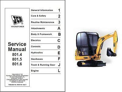 Jcb 801.4 801.5 801.6 Mini Excavator Service Repair Manual Cd - 8014 8015 8016