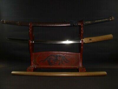 "KATANA (sword) w/Han Tachi Koshirae ,White Sheath : EDO : 36.3 × 25.4 "" 1.68kg"