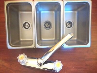 Small 3 Compartment Sink Set Free Gift For Portable Concession Stands