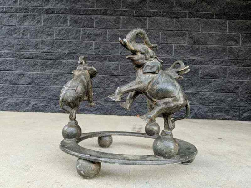 Vintage 3-Elephant Figural Metal Accent Table Base, Rearing Dancing Circus...