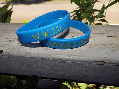 WWJD silicone Christian Faith bracelet new Blue/Yellow (Christian Gummi Armbänder)